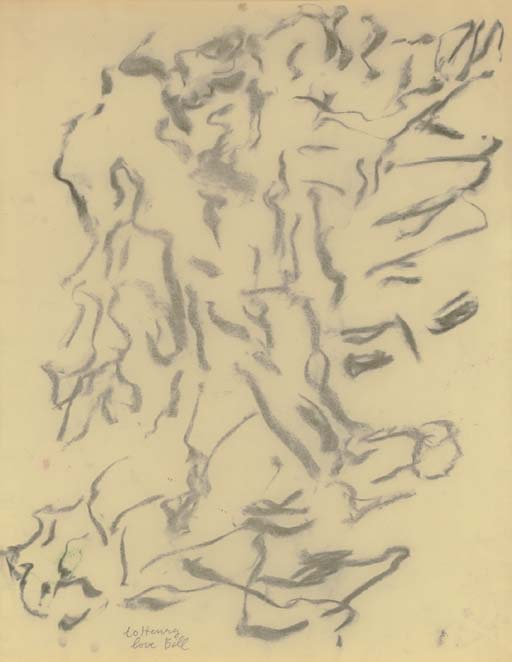 Willem de Kooning-Untitled (Abstract Drawing, Charcoal on Vellum)-1968