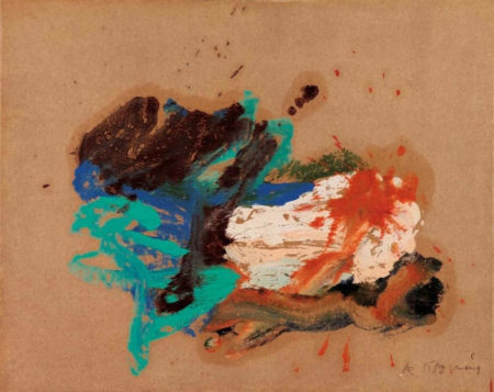Willem de Kooning-Untitled (Black. Light Blue and White Abstract Painting)-1968