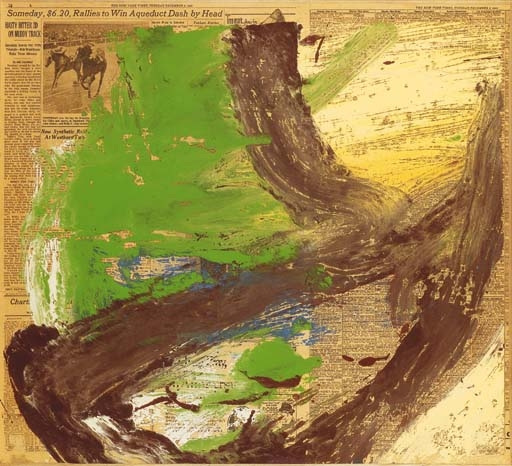 Willem de Kooning-Untitled (Brown and Green Abstract Painting on Newspaper)-1969