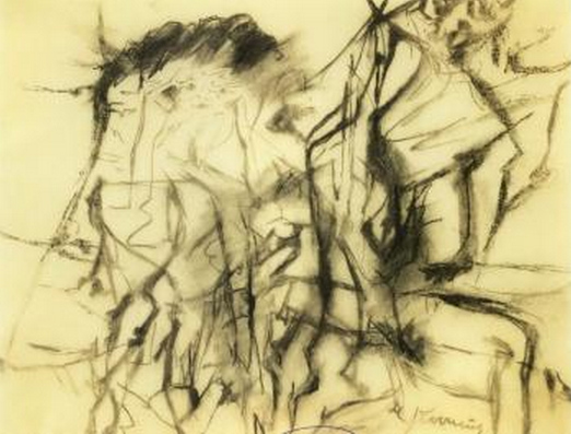 Willem de Kooning-Untitled (Abstract Drawing, Charcoal on Paper)-1969