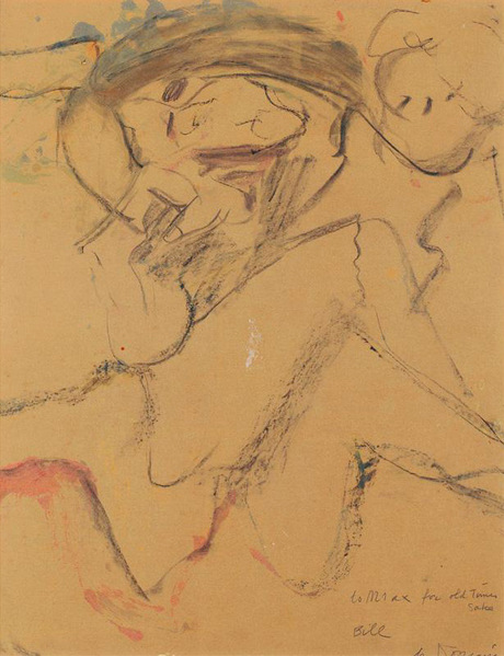 Willem de Kooning-Untitled (Gouache and Charcoal Drawing, 'to Max')-1970