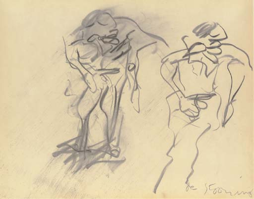 Willem de Kooning-Untitled (Two Figures Drawing)-1970
