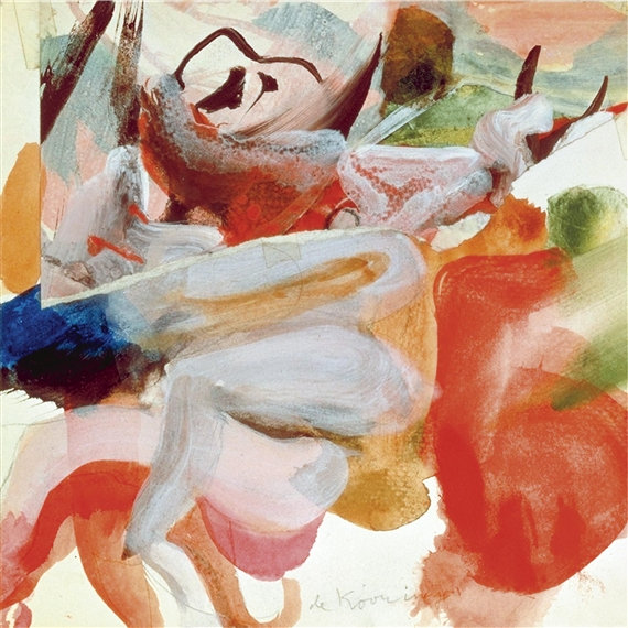 Willem de Kooning-Untitled (Abstract Painting, Oil, Paper collage and Scotch tape)-1970