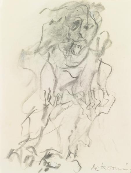 Willem de Kooning-Untitled (Figure Drawing, Charcoal)-1970