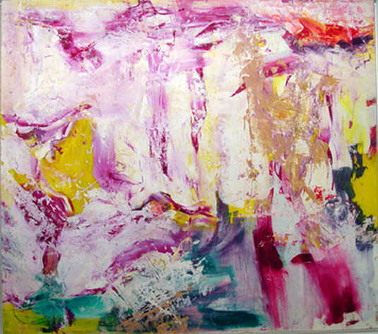 Willem de Kooning-Untitled (Purple, White and Yellow Abstract Painting)-1971
