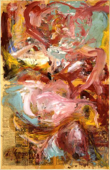 Willem de Kooning-Untitled (Abstract Painting on Newspaper)-1972