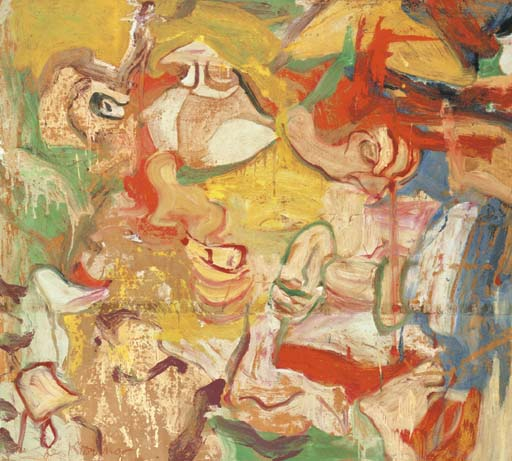 Willem de Kooning-Untitled (Yellow, Blue, Red, White and Green Abstract Painting)-1972