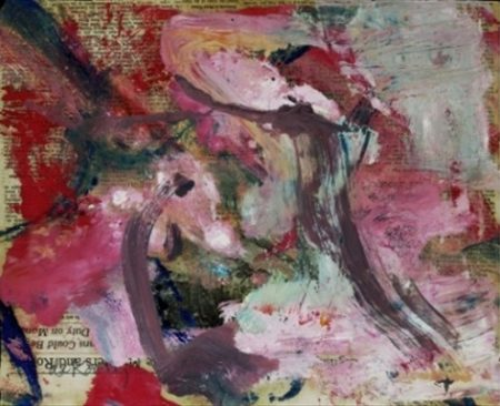 Willem de Kooning-Untitled (Grey, Pink and Red Abstract Painting)-1973
