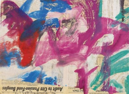 Willem de Kooning-Untitled (Purple, Red, Blue and Green Painting on Newspaper)-1974