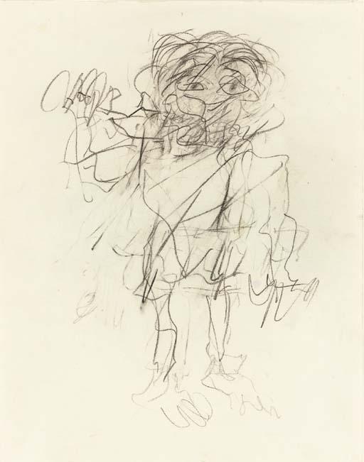 Willem de Kooning-Untitled (Figure Drawing, Graphite on Paper)-1975