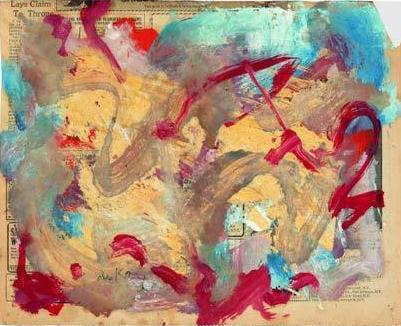 Willem de Kooning-Untitled (Light Blue, Red and Grey Abstract Painting)-1976