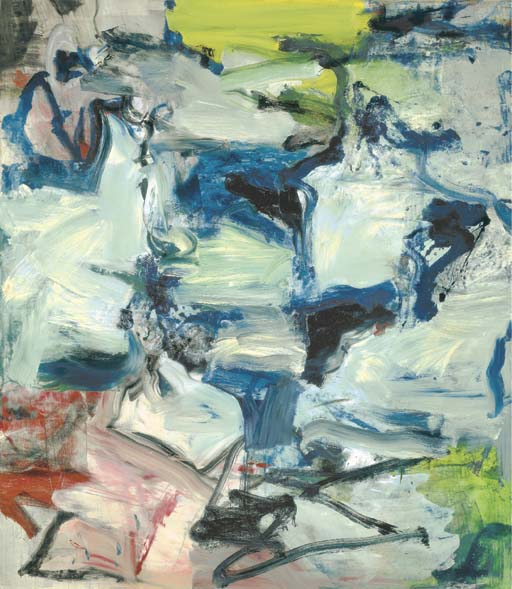 Willem de Kooning-Untitled (Black, Blue, White and Red Abstract Painting)-1977