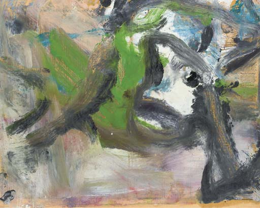 Willem de Kooning-Untitled (Green, Black and White Abstract Painting)-1977