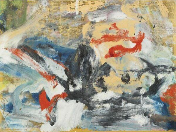Willem de Kooning-Untitled (Abstract Painting on Newspaper)-1977