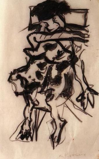 Willem de Kooning-Untitled (Black Figure Drawing, Charcoal on Paper)-1980