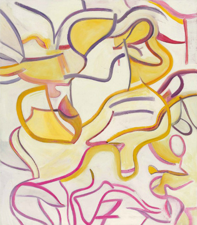 Willem de Kooning-Untitled (Pink, Purple and Yellow Curve Lines)-1987