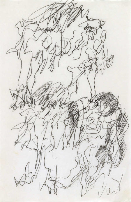 Willem de Kooning-Untitled (Abstract Drawing, Black Ink on Paper)-