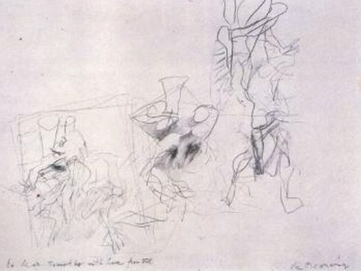 Willem de Kooning-Untitled (Abstract Drawing, Pencil on Paper)-1946