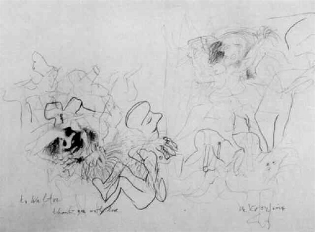 Willem de Kooning-Untitled (Abstract Drawing, 'to Walter')-1975