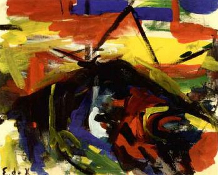 Willem de Kooning-Untitled (Black, Red, Yellow, Blue and Green Abstract Painting)-