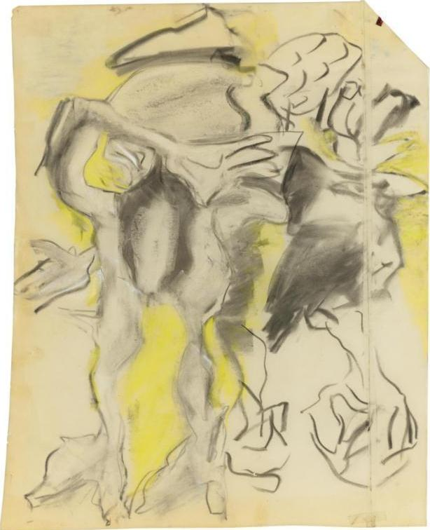 Willem de Kooning-Untitled (Charcoal and Wax Crayon on Paper)-1970