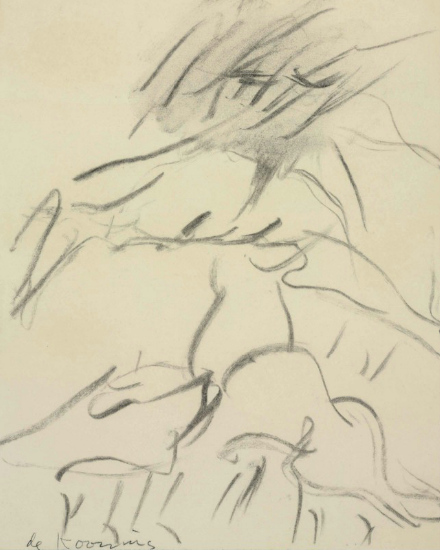 Willem de Kooning-Untitled (Drawing, Charcoal and Graphite on Paper)-1980
