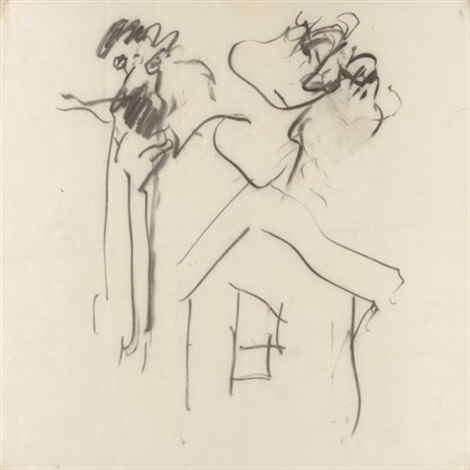 Willem de Kooning-Untitled (Drawing, Charcoal on Vellum)-1968
