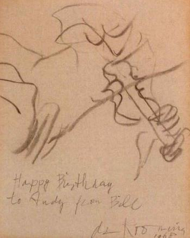Willem de Kooning-Untitled (Drawing, 'Happy Birthday to')-1968