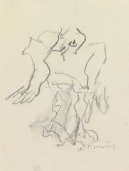 Willem de Kooning-Untitled (Figure Drawing, Charcoal)-1979