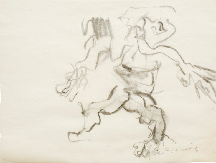 Willem de Kooning-Untitled (Figure Drawing, Charcoal on Paper)-1960