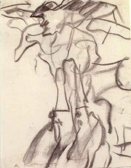 Willem de Kooning-Untitled (Figure Drawing, Charcoal on Paper)-