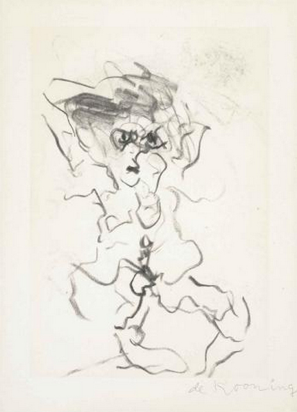 Willem de Kooning-Untitled (Man, Drawing)-1980