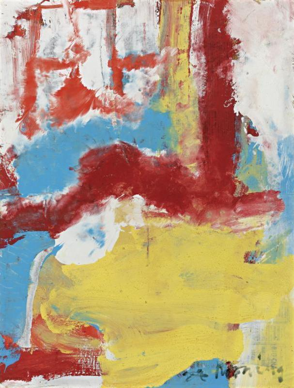 Willem de Kooning-Untitled (Red, Yellow, Blue and White Abstract Painting)-1970