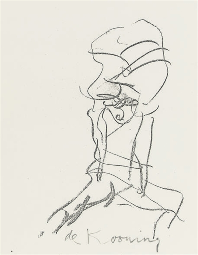 Willem de Kooning-Untitled (Seated Woman, Lithograph)-