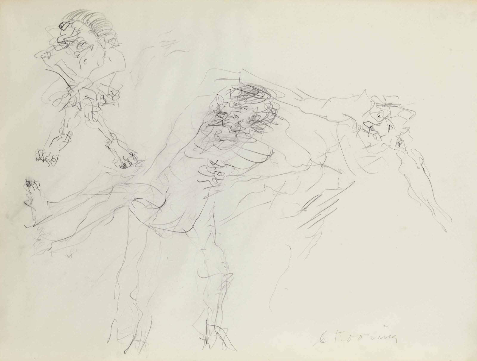 Willem de Kooning-Untitled (Three Figures Drawing)-1969
