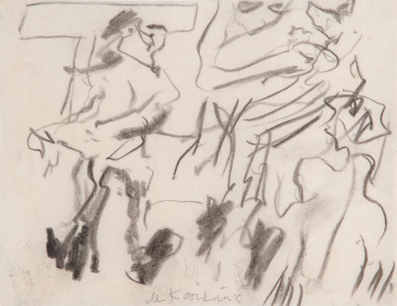 Willem de Kooning-Untitled (Three Figures Drawing)-1980