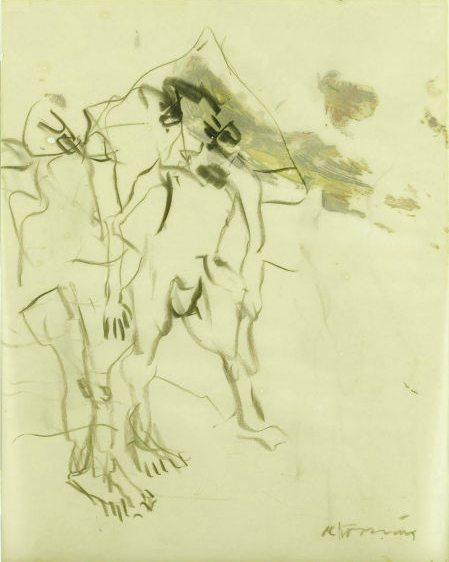 Willem de Kooning-Untitled (Two Figures Drawing, Charcoal and Oil)-1967
