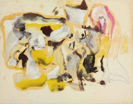 Willem de Kooning-Untitled (Yellow, Brown and Pink Abstract Painting)-1970