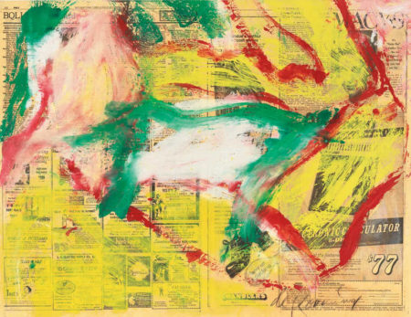 Willem de Kooning-Untitled (Yellow, Red and White Abstract Painting on Newspaper)-1972