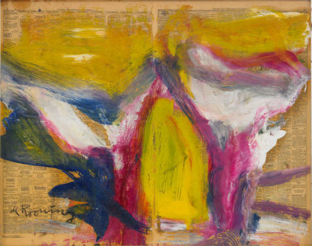 Willem de Kooning-Untitled (Yellow, Blue, White and Purple Abstract Painting)-1980