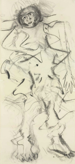 Willem de Kooning-Woman (Charcoal on Paper)-1964