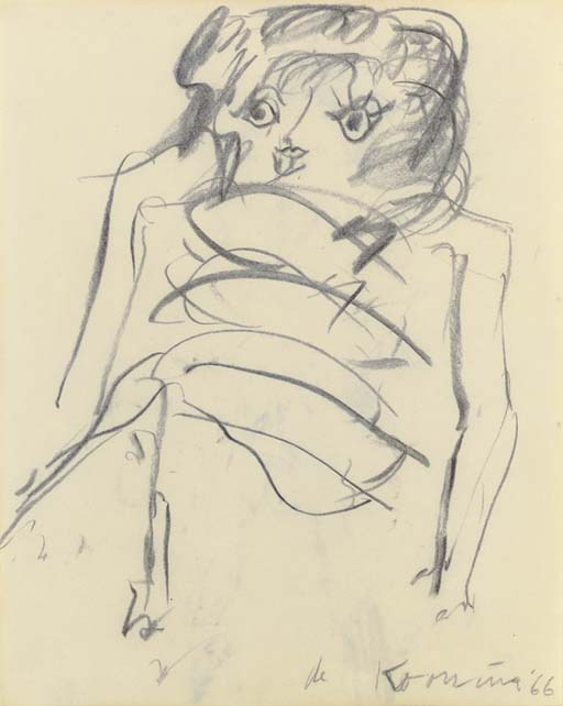 Willem de Kooning-Woman (Charcoal on Paper)-1966