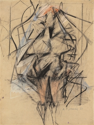 Willem de Kooning-Woman (Graphite, Charcoal, Pastel and Oil on Paper)-1951