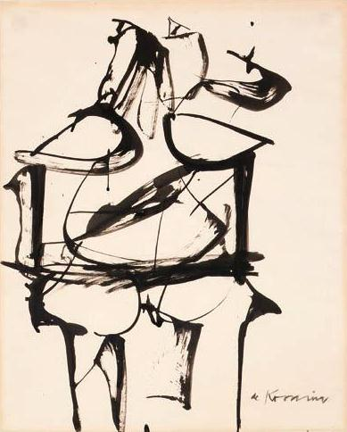 Willem de Kooning-Woman (Indian ink and Brush on Paper)-1959