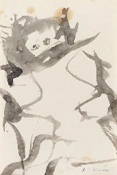 Willem de Kooning-Woman (Ink and Brush on Paper)-1964