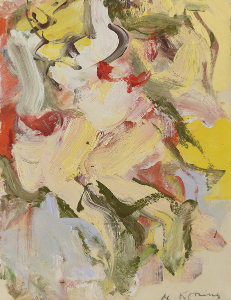 Willem de Kooning-Woman (Oil on Paper laid on Canvas)-1965