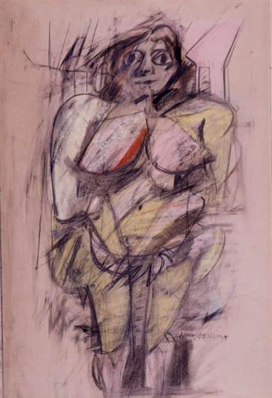Willem de Kooning-Woman (Pastel on Paper)-1952
