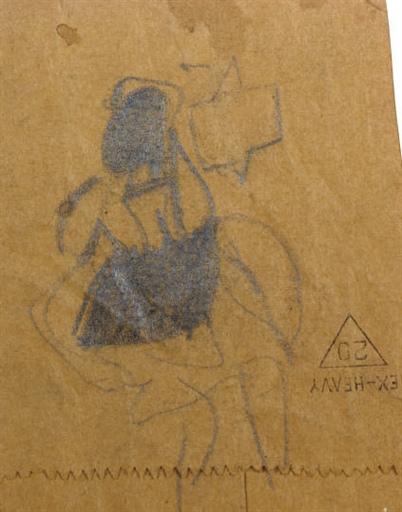 Willem de Kooning-Woman (Pencil on Kraft paper)-