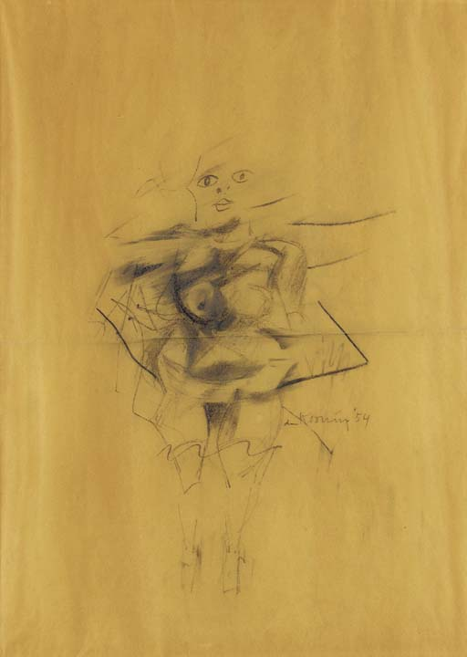 Willem de Kooning-Woman (Pencil on Vellum)-1954