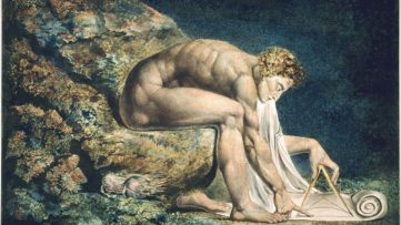 The painting Newton (detail), 1795 by William Blake